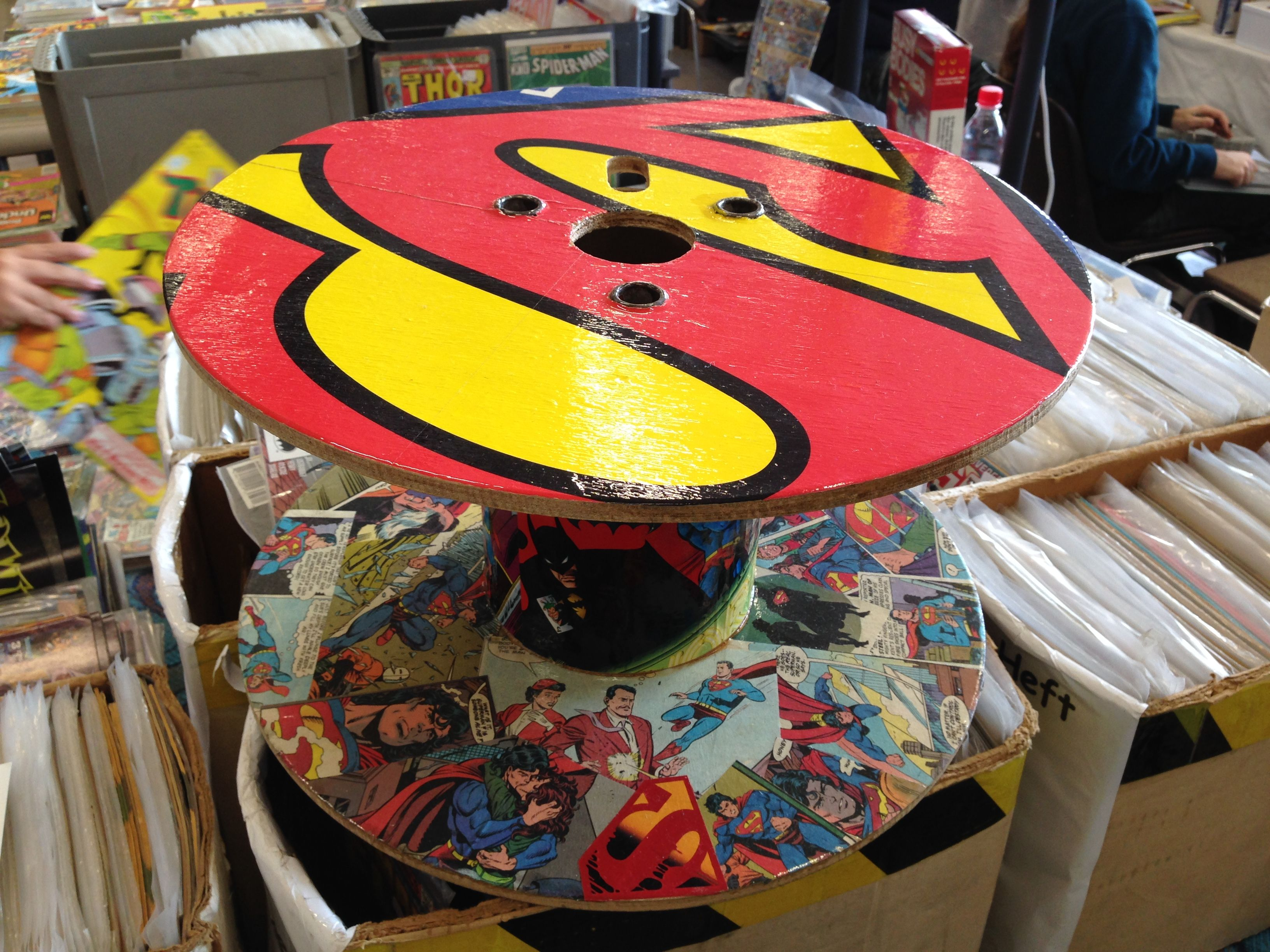 Small table with Superman design made from a cable drum! #upcycling #superman #dc