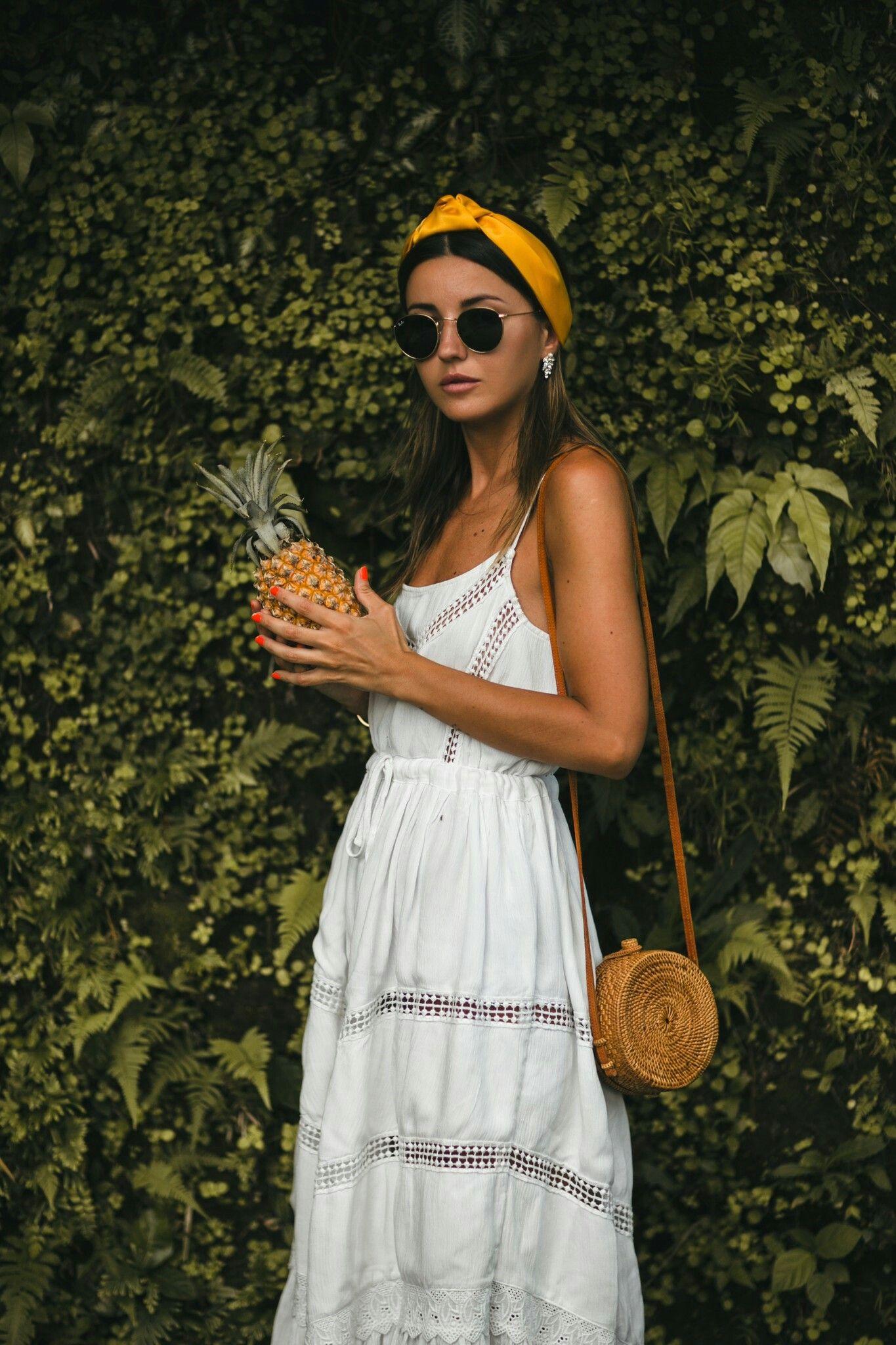 Hawaiin Style White Summer Dress
