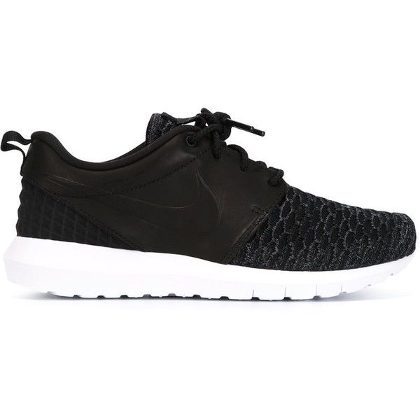Nike Roshe NM Flyknit Premium Sneakers (1 200 SEK) ❤ liked on Polyvore featuring shoes, sneakers, nike, black, woven shoes, nike footwear, leather sneakers, black sneakers and black leather shoes