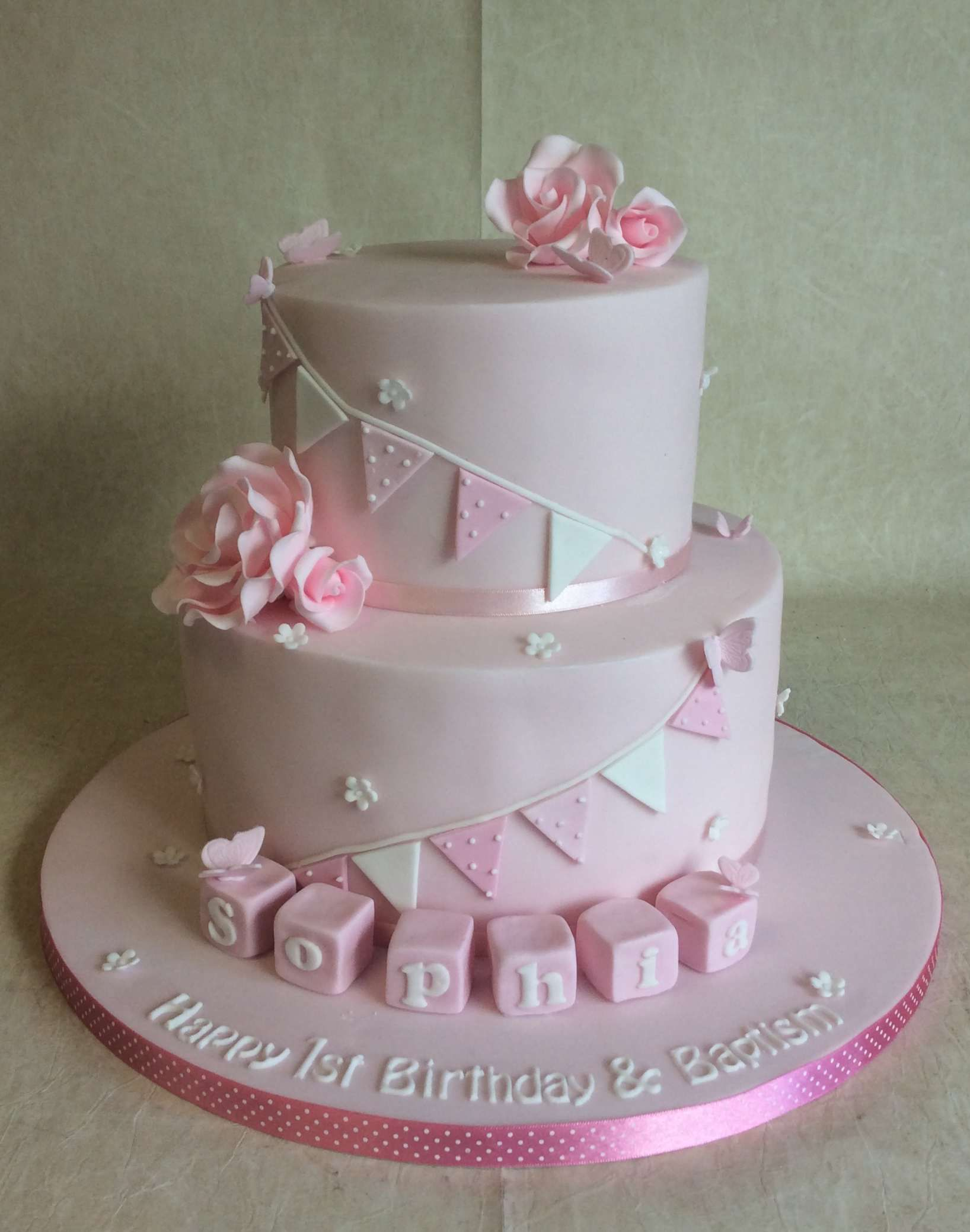 2 Tier Joint Christening 1st Birthday Cake With Bunting Blocks