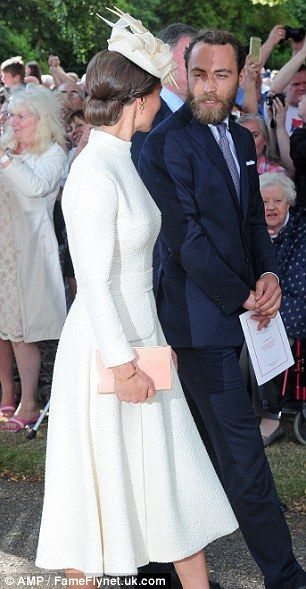 Pippa looked elegant in a magnolia dress and stiletto cream court shoes...