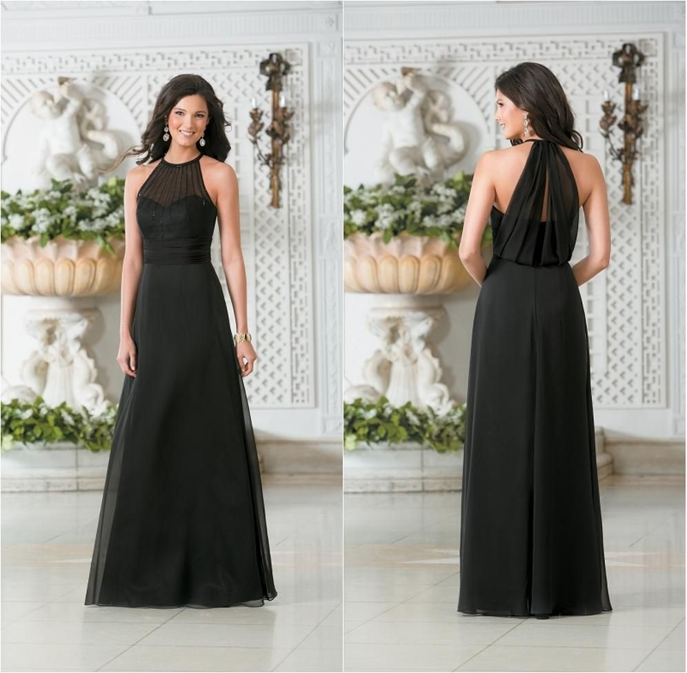 Chiffom cheap black bridesmaid dresses long beaded halter neckline