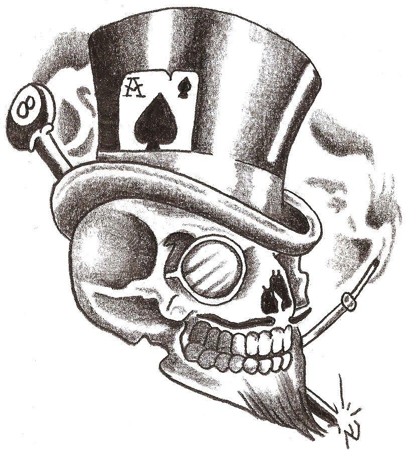 Lucky Skull Skull And Rose Drawing Skull Artwork Drawings