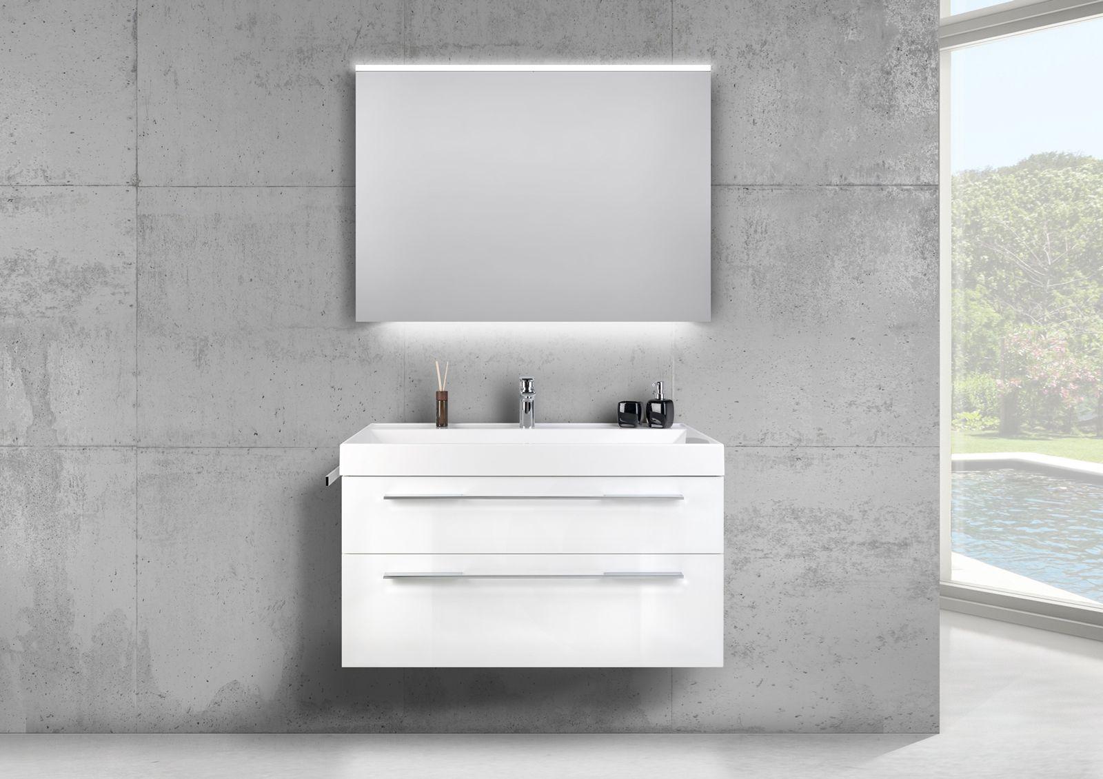 Design Badmobel 100 Cm Waschtisch Mit Unterschrank Und Led Lichtspiegel Unterschrank Spiegelschrank Led Waschtisch
