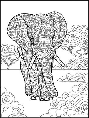 Gorgeous Elephant Zentangle Creative Animals Coloring Book For