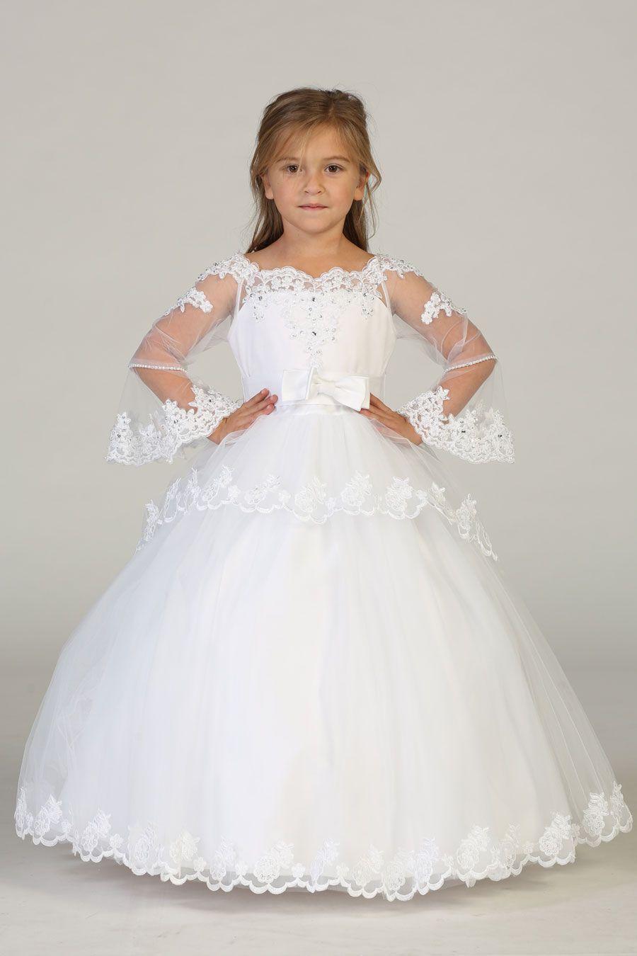 8033 1 Girls Long Sleeve Communion Dress Bijankids Girls Long Sleeve Dresses Tulle Dress Short Tulle Dress Long [ 1350 x 900 Pixel ]