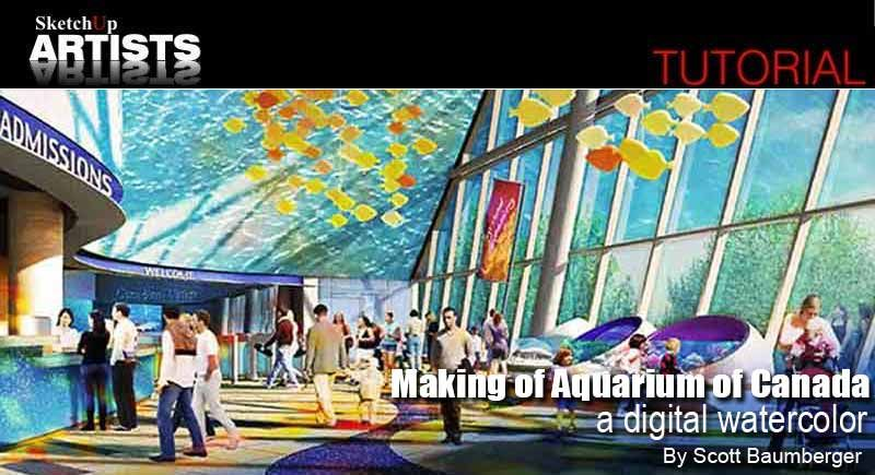 Making Of Aquarium Of Canada A Digital Watercolor Interior