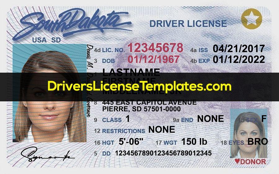 South Dakota Drivers License Template Psd Drivers License South Dakota Templates
