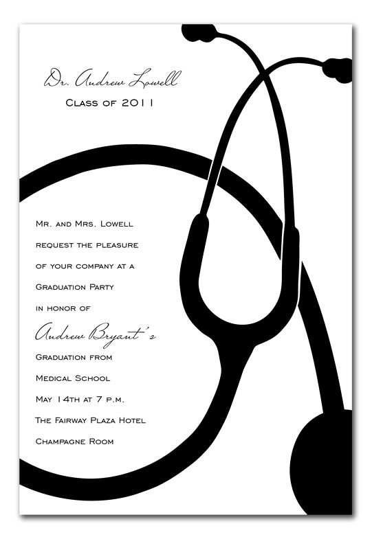 Stethoscope stethoscope and med school stethoscope graduation announcements by invitation consultants item ic rlp 340 nursing partynursing school graduationmedical filmwisefo Image collections