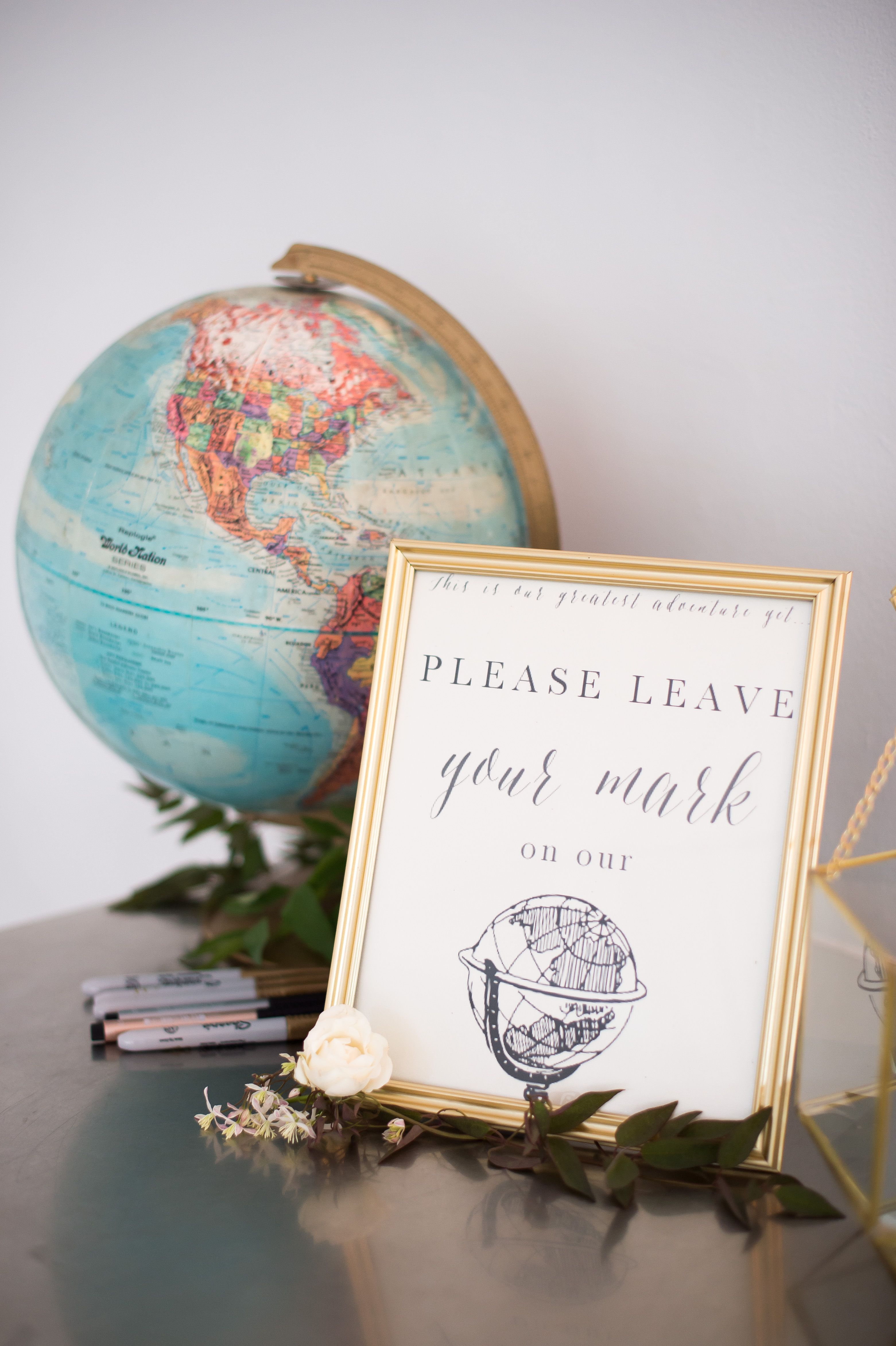 Cutest idea to have guests sign a globe! View the full wedding here ...