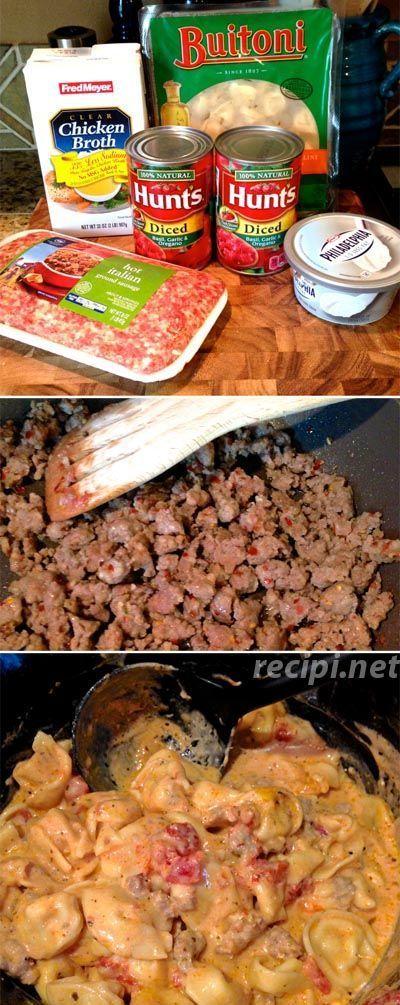Crock Pot Sausage & Cheese Tortellini #favoriterecipes