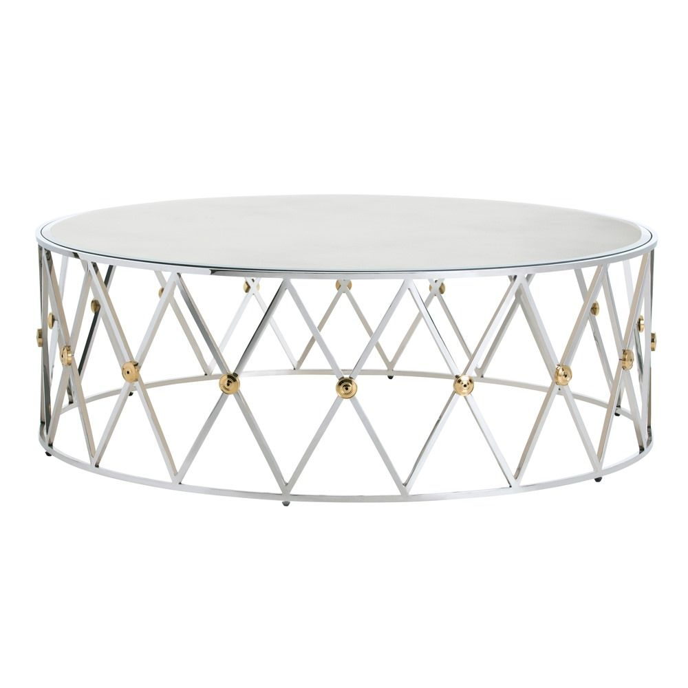 Arteriors DS9006 Corinth Coffee Table Round DIa 48 H 16.5 Polished Nickel  Brass Rosettes Mirror Top