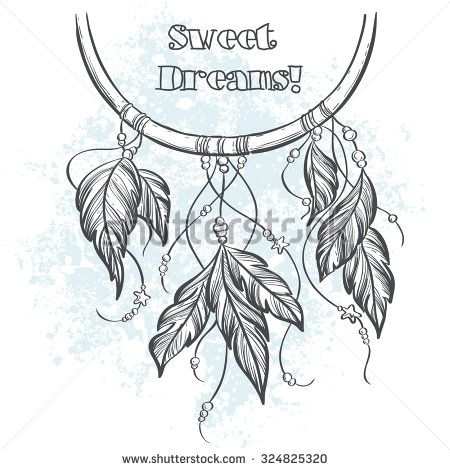 Dream Catcher Outline Dreamcatcher Outline Vector Illustration With Feathers  Dream