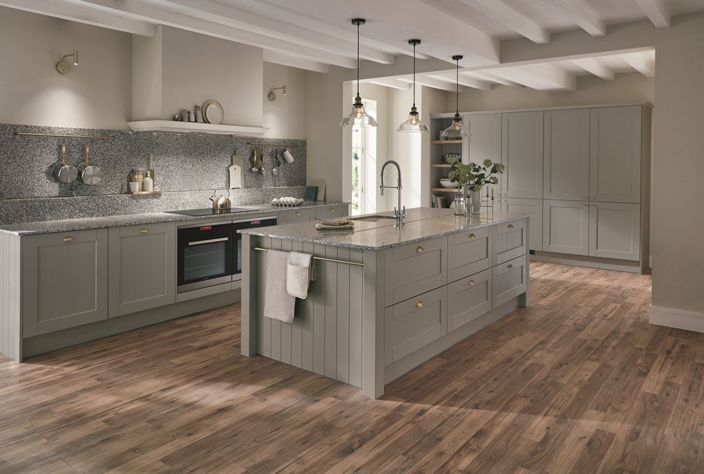 This Sophisticated Shaker Kitchen In On Trend Grey Will Make The Perfect Backdrop For Everything Fro Howdens Kitchens Grey Shaker Kitchen Modern Kitchen Island