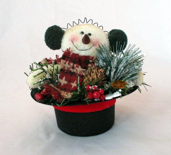 Mini snowman top hat arrangement Arrangements Centerpieces