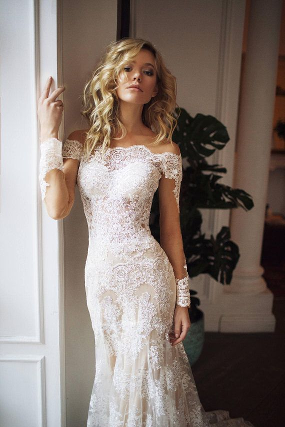 detachable train wedding dress Nektaria ,off the shoulder long sleev wedding dress , mermaid lace wedding dress
