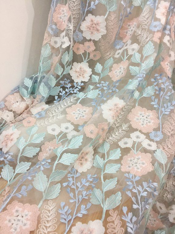 Designer Embroidery Lace Floral Style Fabric Nude