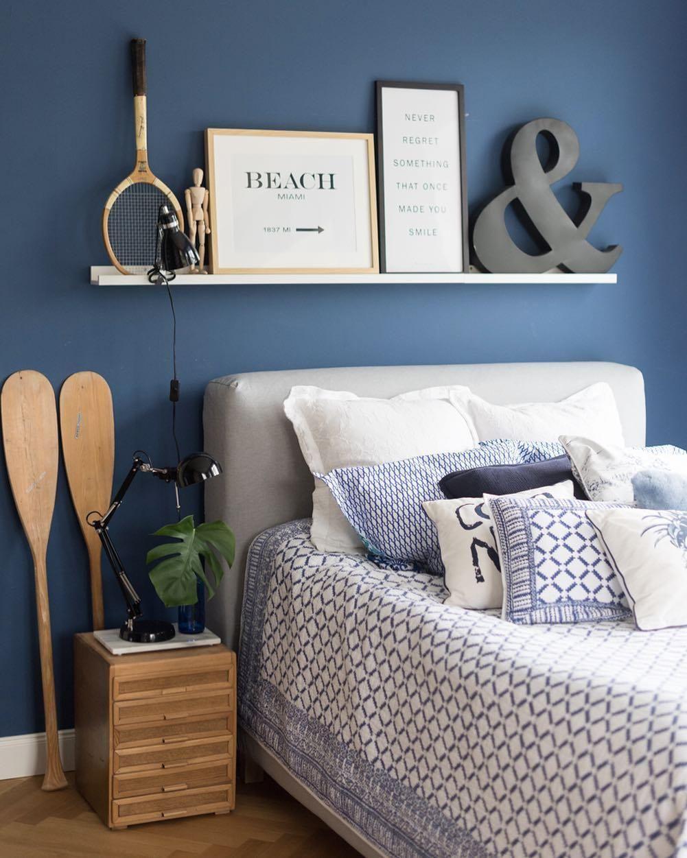 In Diesem Schlafzimmer Stimmt Jedes Detail! Die Zeitlose Blaue Wandfarbe,  Hochwertige