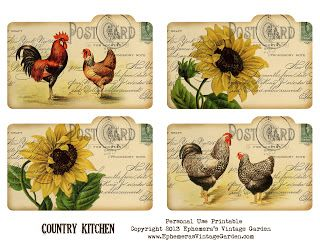 Free Printable - Country Kitchen Recipe Cards Hi and happy freebie day!- I put together some country cottage recipe cards for you this week.  They are the old standard 3x5 inches.  They would also make cute backyard picnic place cards or journaling cards too.