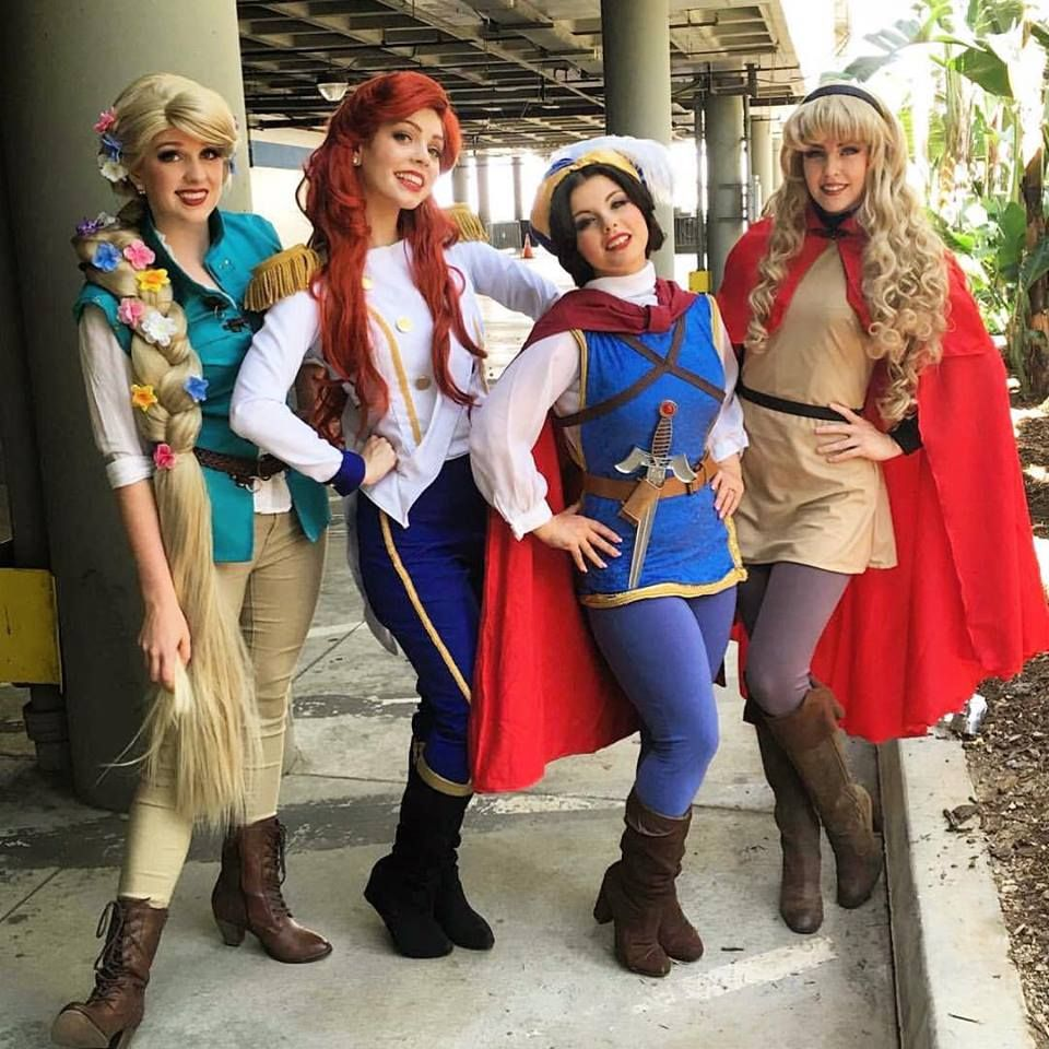 this is cute disney princesses in their princes costumes