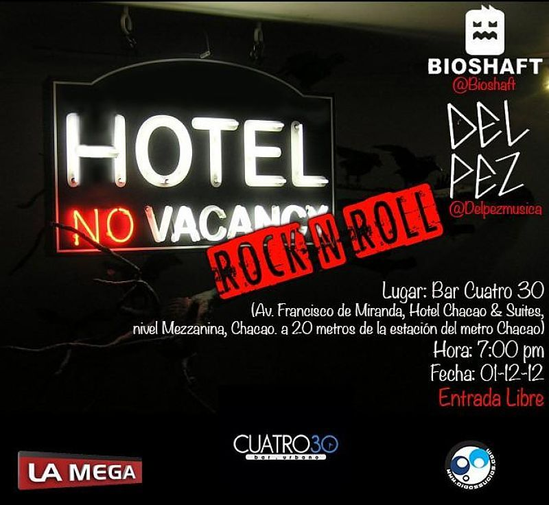 El 01-Dic @BioShaft y @DelPezMusica llenan de rock al @Bar_cuatro30  @AndreinaNG_