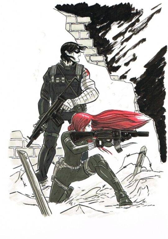 Black Widow and Winter Soldier by Douglas Holgate