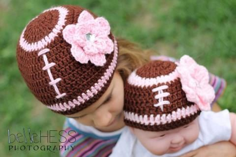 Baby Toddler Girl Football Beanie Hat w/PINK Daisy-- Sizes: Newborn ...