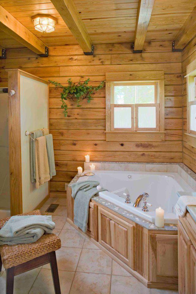 Log Bathroom Bathtubs Pinterest Logs, Corner tub and Rustic room
