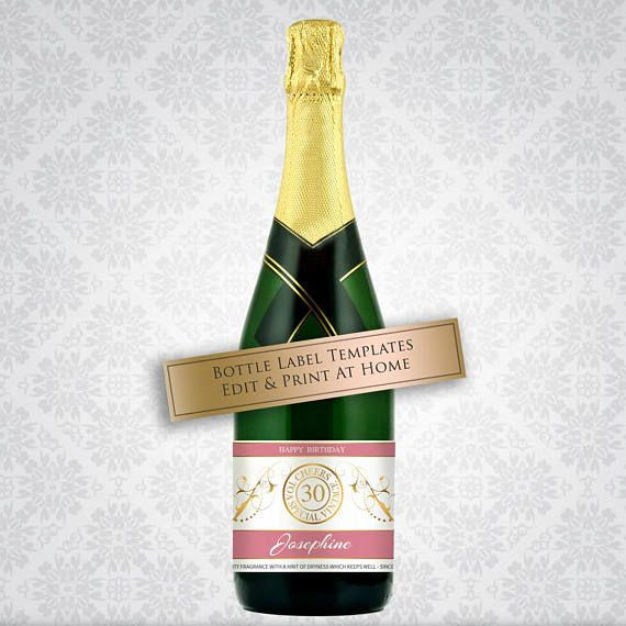 Printable Pink Champagne Label Cheers To A Special Vintage - Champagne label template