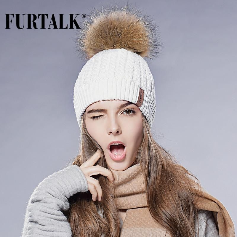 ef9d5629862 Furtalk Real Fox Fur Hat Big Raccoon Pom Pom Hat Knitted Beanie Caps Spring  Autumn Women Winter Hats for Girls  pretty  glam  dress  instafashion  love  ...