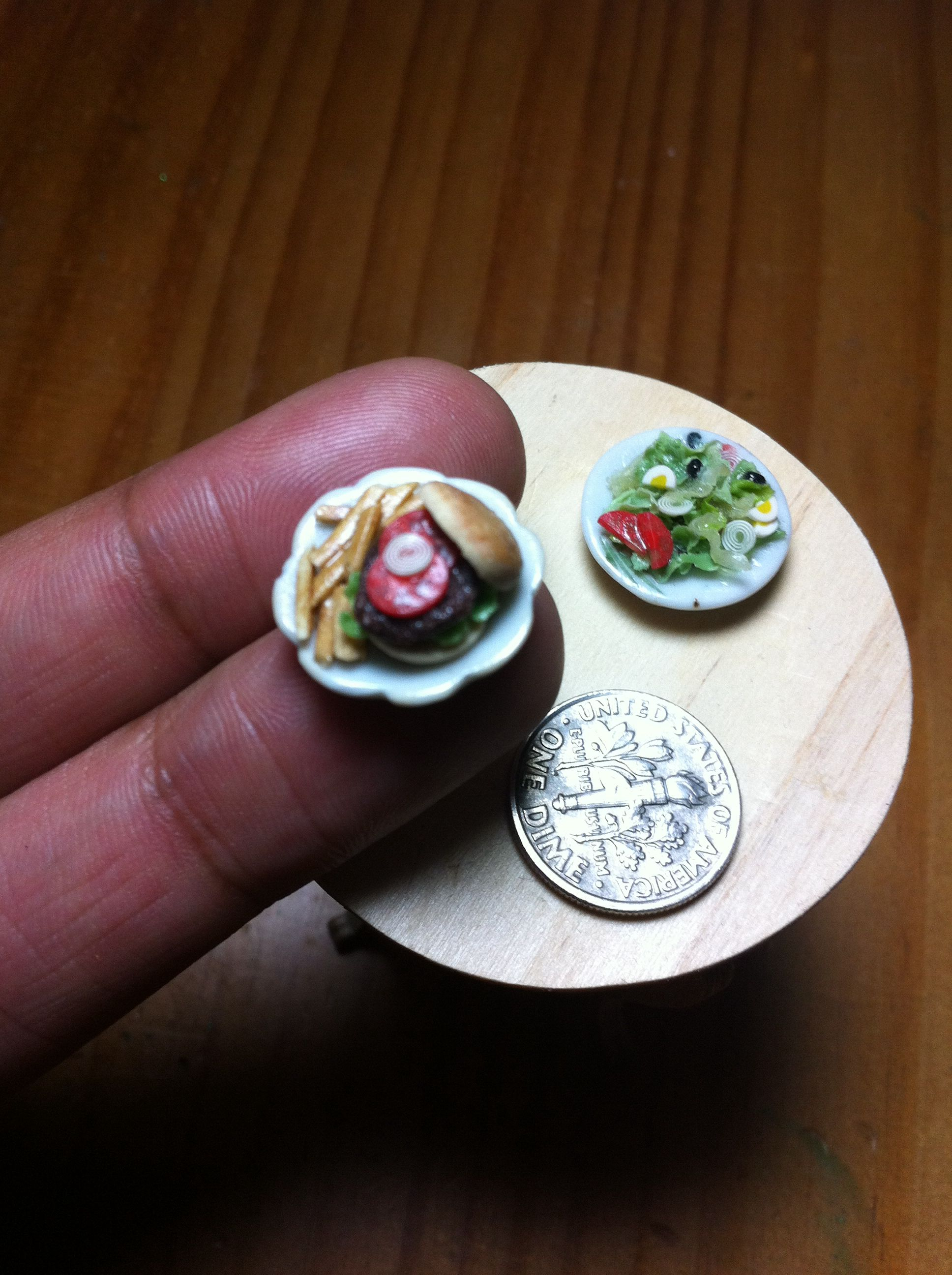 Dollhouse miniature polymer clay burger, fries, and salad... My first attempt.