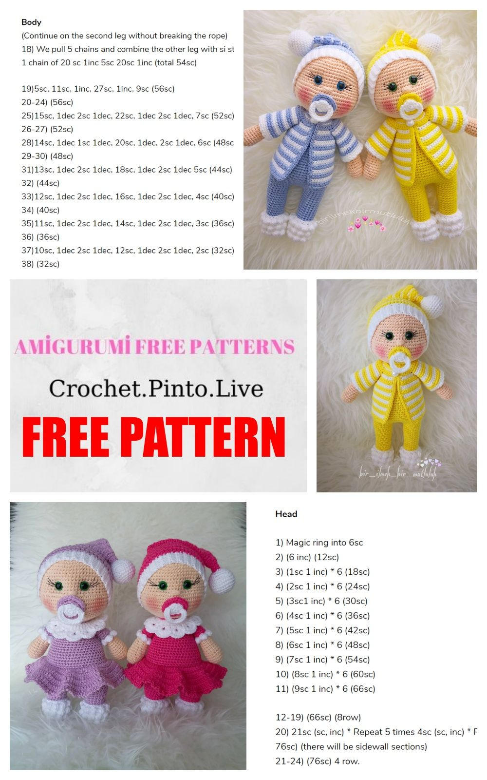 Samyelinin Örgüleri: Amigurumi Doll Pacifier Baby (Free English Pattern) | 1600x1000