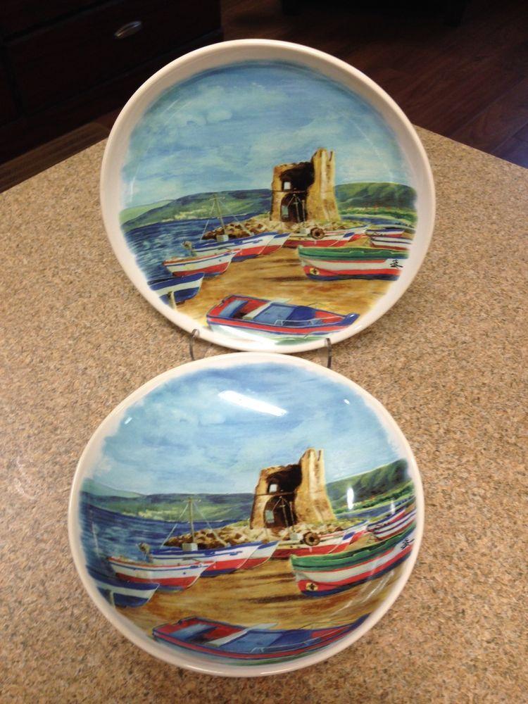(2 PCS) Ceramisia Italy SEASIDE BOAT SCENE (1) 9\  & LQQK! (2 PCS) Ceramisia Italy SEASIDE BOAT SCENE (1) 9\