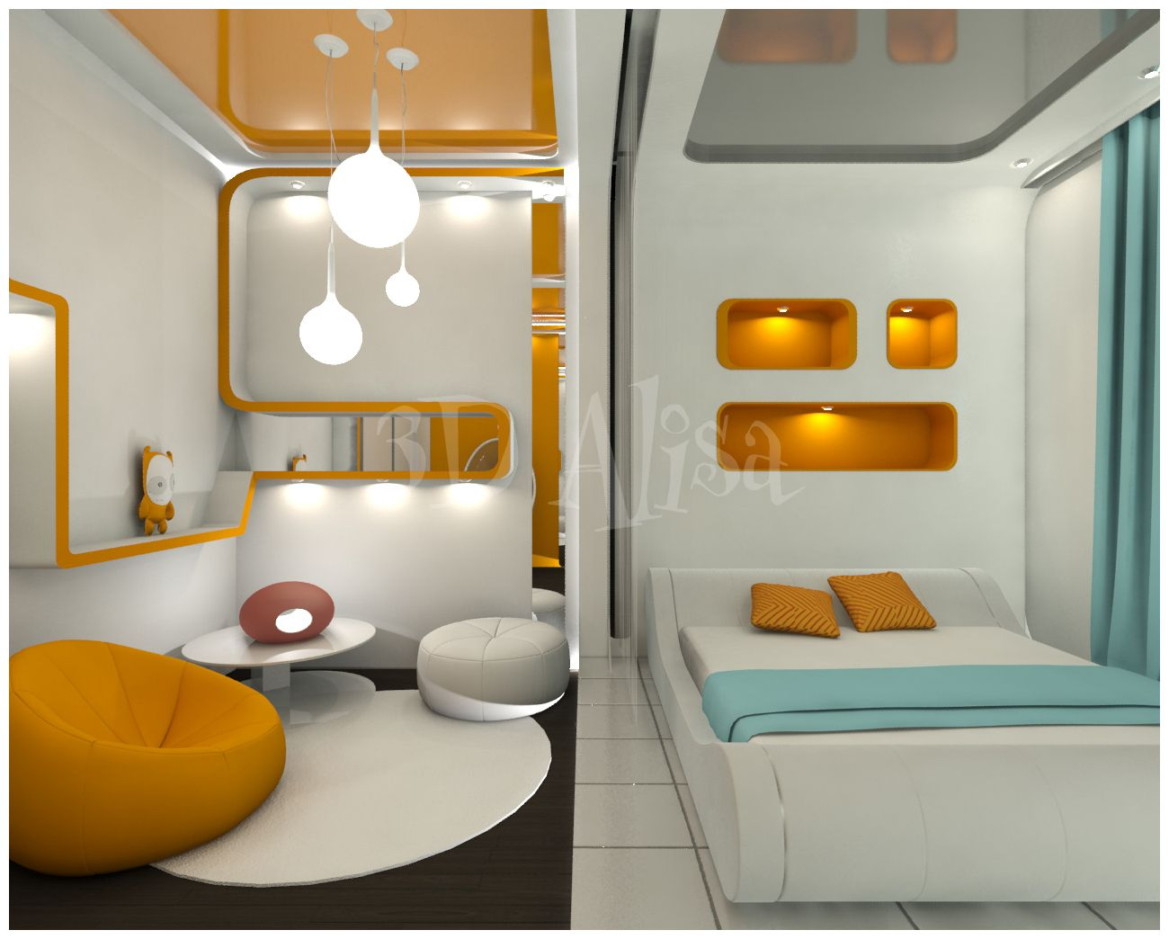 Bedroom Design Best Futuristic Bedroom Design In Your House No Headboard  With Orange Storage And Blue Bed Cover And Curtain : Amazing Futuristic  Bedroom ...