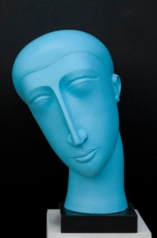 Ceramic/acrylic/slate Busts and Heads Sculptures #sculpture by #sculptor Patricia Volk titled: 'Blue Head (Ceramic Big Abstract Garden Head Sculptures)' #art