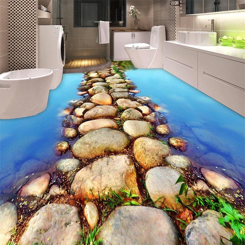 Beautiful River Stone Path Restroom Bathroom 3d Flooring Wallpaper Pvc Selfadhesive Waterproof 3d Floor Tiles Bathroom Flooring 3d Bathroom Design Floor Design