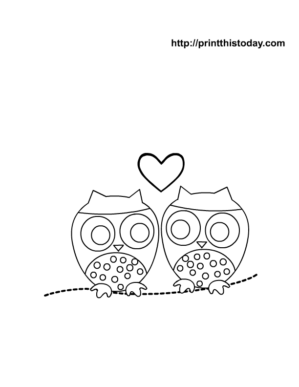 Cute Owl Coloring Pages Free Coloring Page With Cute Owls And A