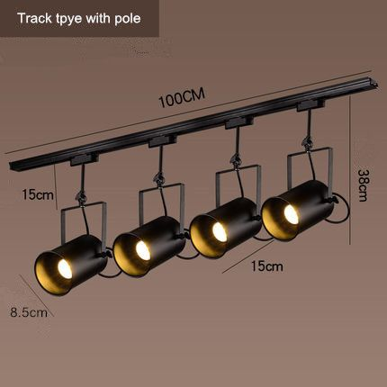 Black Iron Rotated Ceiling Lamp Industrial Clothing Track Light Retro Rail Potlights Store Shop Commer Vintage Ceiling Lights Ceiling Lamp Cheap Ceiling Lights