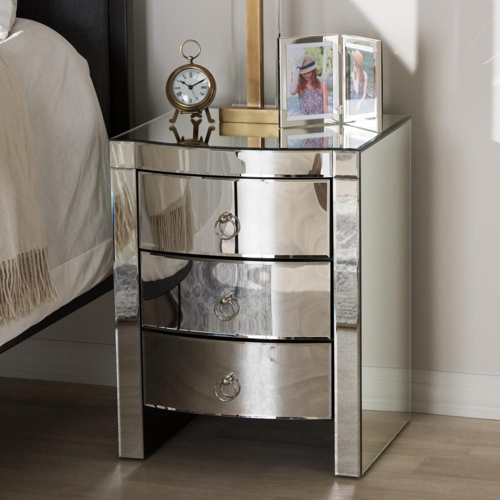 Baxton Studio Florence 3 Drawer Silver Metallic Nightstand 28862 7480 Hd The Home Depot Mirrored Nightstand Nightstand Set Of 2 Nightstand