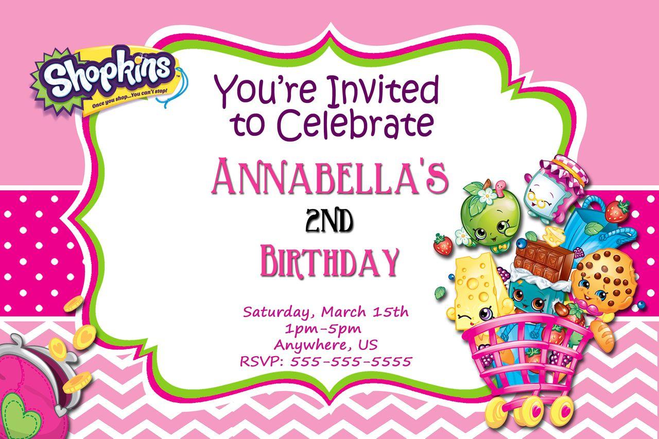 Shopkins Birthday Invitations Chevron Shopkins Birthdays And