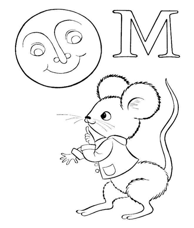 M For Moon And Mouse Coloring Pages Abc Coloring Pages Abc Coloring Coloring Pages