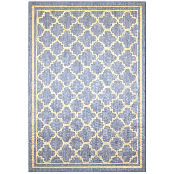 E229 Miami Qfoil Blue 87x118 In 2020 Quatrefoil Rug Affordable