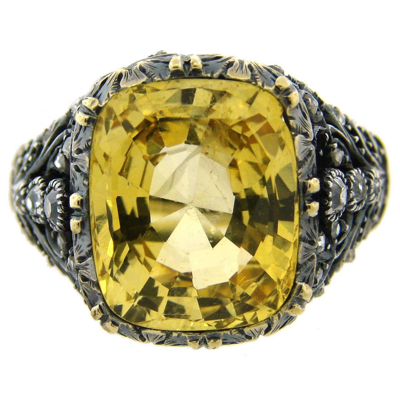 1950s Mario Buccellati Yellow Sapphire Diamond Gold Ring From A Unique Collection Of Vintage Cocktail R Buccellati Jewelry Gold Diamond Rings Yellow Sapphire