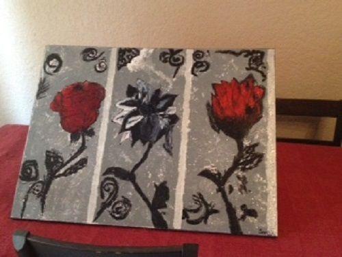tableaux artisanat peinture sur toile acrylique et huile gris rouge noir blanc je suis artiste. Black Bedroom Furniture Sets. Home Design Ideas