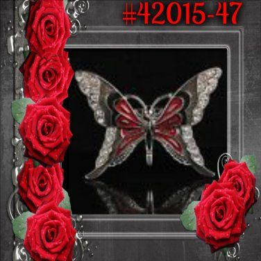 Red & Black Sparkle Rhinestone Crystal Alloy Charm Butterfly Pin & Brooch #42015-47