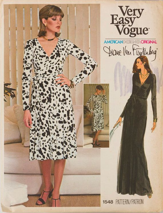 Diane von furstenberg robe portefeuille vintage