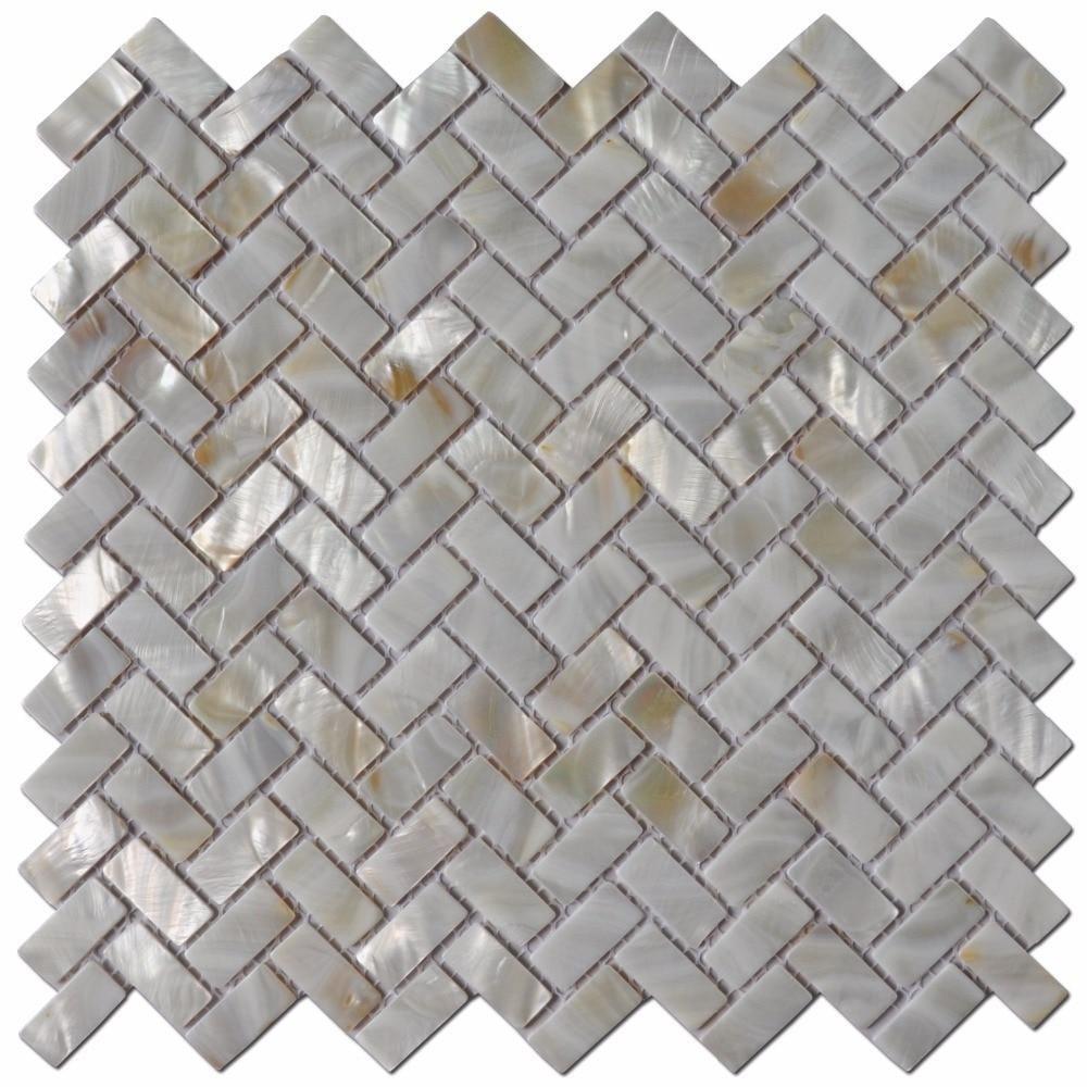 Tile For Shower 6 Pack Mop Shell Wall 12 X Groutless Subway Backsplash Shell Tiles Pearl Backsplash