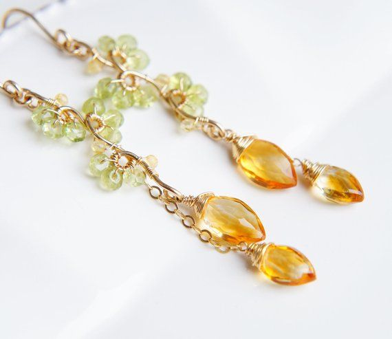 Pale Yellow and Blue Grey Sapphires set with a Diamond in ... |Light Yellow Gemstone Earrings