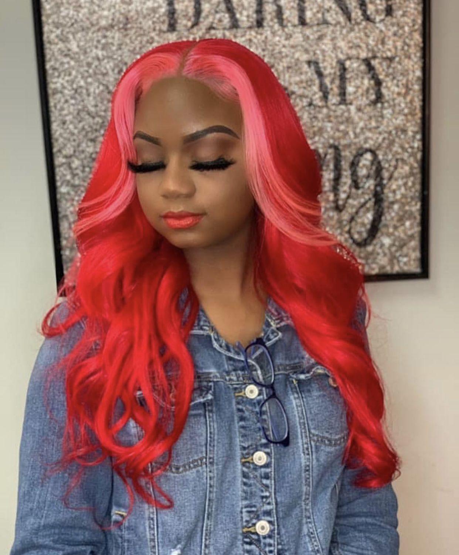 Red Sew In Weave : weave, Pinterest:, LAASHAI, Weave, Hairstyles,, Wigs,