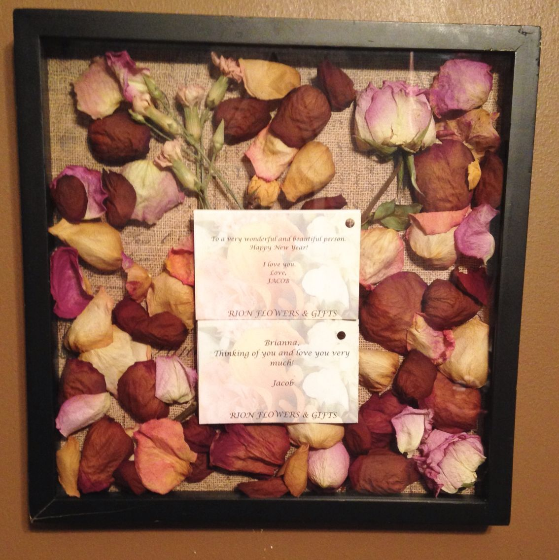 Shadow Box With Roses Diy With Dried Flowers From My Boyfriend Laid Everything In Place Put A Sheet Of B Dried Flowers Diy Shadow Box How To Preserve Flowers